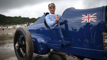 Old timer: Don Wales sits in the original Sunbeam car, driven by Malcolm Campbell on July 21, 1925, on the sands at Pendine. The car achieved the then world speed record of 243km/h.