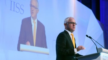Malcolm Turnbull delivers the keynote address at the Asia Security Summit on Friday.