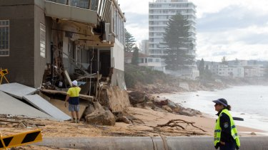 The Collaroy Beach Hotel was damaged by strong surf.