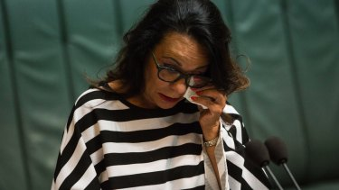 Linda Burney MP tears up as she speaks on the same-sex marriage bill.