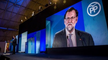 Spanish Prime Minister Mariano Rajoy at the closing ceremony of the People's Party (PP) election campaign before the vote.