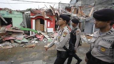 Authorities in Kalijodo, a red-light district that was razed in February.