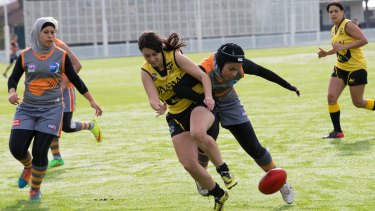 The Auburn Giants play against UNSW-ES Stingrays at Mona Park last year.