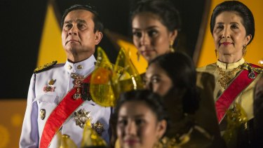 Thai Prime Minister Prayut Chan-o-cha, left, during celebrations for Thailand's late King Bhumibol Adulyadej on his 88th birthday in 2015.