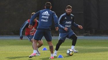 Argentina great Lionel Messi trains at La Trobe University on Monday night.