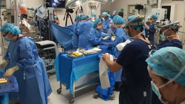 Doctors perform ground breaking in-utero surgery on a baby with spina bifida.