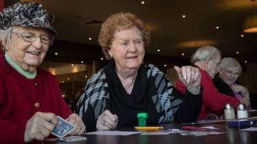 Betty Gardiner is one of the many widows in Rosebud. Ms Gardiner, second from left, joins her friends every Friday to play a game of cards.