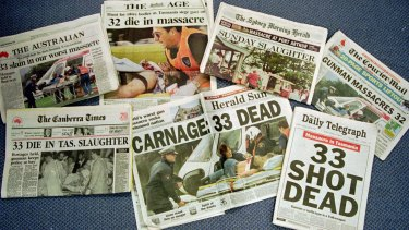 The front pages of Australian newspapers Monday April 29, 1996, headlining the worst massacre in Australia's history.