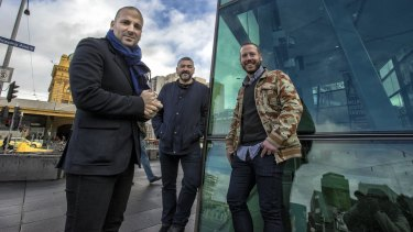 Tasty tenants ... (from left) restaurateurs George Calombaris, Frank Camorra and Daniel Wilson are opening at the new Eastland.