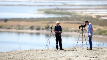 Birdwatchers haven: Dr David Boyle and Barry Lingham (right) of the Geelong Field Naturalists Club, are annoyed by plans to develop the former salt works site on outskirts of Geelong.