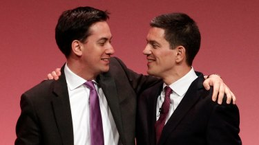 Ed Miliband (left) with his brother David, whom he defeated for the Labour leadership after Gordon Brown's 2010 election defeat.
