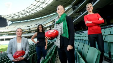 AFL's media coverage deserves a greater female presence, such as player Meg Hutchins (left), Neroli Meadows from Fox, player Melissa Hickey and Sarah Jones from Fox.