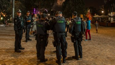 There were almost as many police as festival-goers at Federation Square at this year's Moomba festival.
