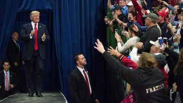 Donald Trump arrives on stage at a rally in Springfield, Ohio, on Thursday.
