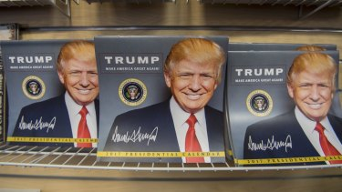 Preparing for Day One: Inauguration memorabilia on display in the White House gift store.