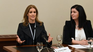 Australian actress Rachel Griffiths (left) and Hagar CEO Jo Pride appear before a Modern Slavery Inquiry at Parliament House in Melbourne.