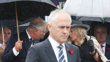 The Prince of Wales and the Duchess of Cornwall attend the Remembrance Day ceremony at the Australian War Memorial in Canberra with Prime Minister Malcolm Turnbull.