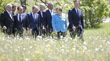 The G7 leaders in Kruen, Germany on Sunday.