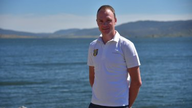 Chris Froome at Lake Jindabyne on Friday.