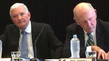 Former Bradken chairman Nick Greiner (left) and current chairman Phil Arnall.