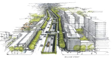 Tree-lined: An artist's impression of the new Parramatta Road.