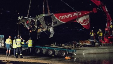 The wreckage from the de Havilland Canada DHC-2 Beaver transported to land for investigation.