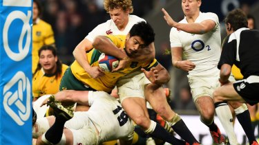 Will Skelton crashes over for Australia's second try.