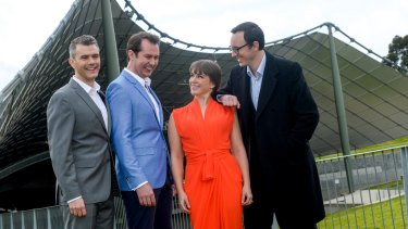 <i>Georgy Girl</i> cast Phillip Lowe (Keith Potger), Mike McLeish (Bruce Woodley), Pippa Grandison (Judith Durham) and Glaston Toft (Athol Guy) at the Myer Music Bowl.