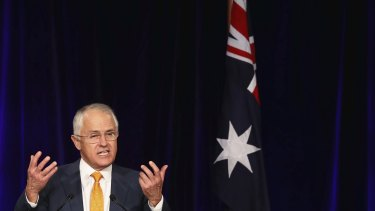 Malcolm Turnbull greets Liberal party supporters at Sofitel Wentworth on Saturday night.