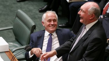 Prime Minister Malcolm Turnbull with deputy Warren Truss..