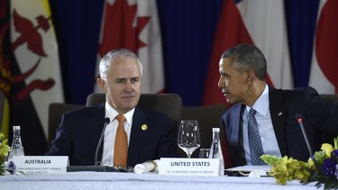 Mr Turnbull and US President Barack Obama - pictured at the Asia-Pacific Economic Cooperation summit in November - will meet in the Oval Office on Tuesday, local time.