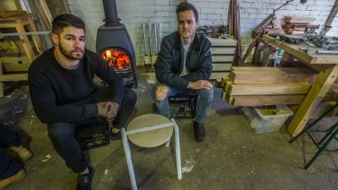 Rene Linssen and Elliot Bastianon with their Stance Stool.
