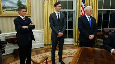 Jared Kushner, flanked by former national security adviser Michael Flynn and Vice President Mike Pence, attended a meeting at Trump Tower with the Russian ambassador.