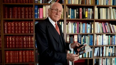 The Age News 21/10/2014 picture Justin McManus. Gough Whitlam's death. Former Prime Minister Malcolm Fraser. Malcolm with a photo of Gough and himself taken earlier this year.