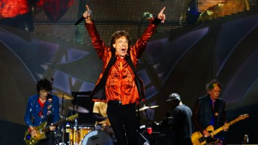 The Rolling Stones on stage at the Hope Estate in NSW in 2014.