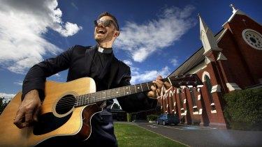 Father Rob Galea outside his church in Shepparton.