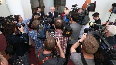 Attorney-General Senator George Brandis addresses the media at Parliament House on Thursday.