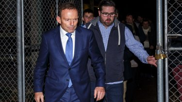 Tony Abbott outside the branch meeting of federal MP Michael Sukkar, in Croydon, Melbourne on Monday.