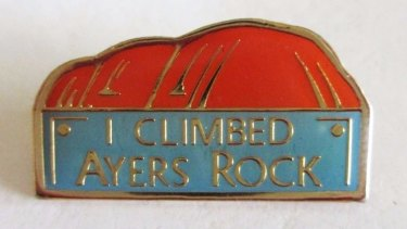 Vintage souvenirs for tourists who climbed Ayers Rock, which is now known as Uluru.