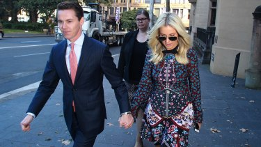 Oliver Curtis and partner Roxy Jacenko during the trial.