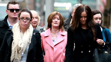 The family of deceased Nicholas McEvoy leave the NSW Supreme Court.