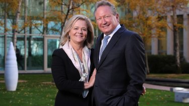 Andrew Forrest and his wife, Nicola, at Parliament House on Monday.