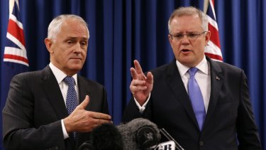 Prime Minister Malcolm Turnbull, left, and Treasurer Scott Morrison.
