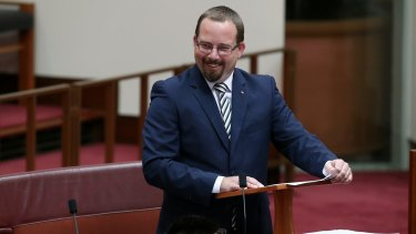 Ricky Muir delivers his first speech to the Senate in March 2015.
