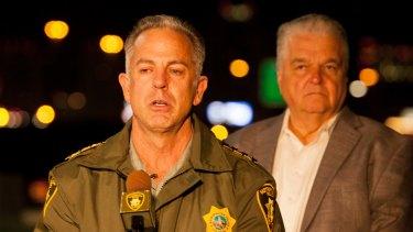 Clark County Sheriff Joe Lombardo, accompanied by Clark County Commission chairman Steve Sisolak, briefs the media on the Las Vegas massacre.