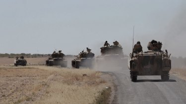 Turkish troops and allied Syrian rebels expelled the Islamic State group from the last strip of territory it controlled along the Syrian-Turkish border on Sunday.