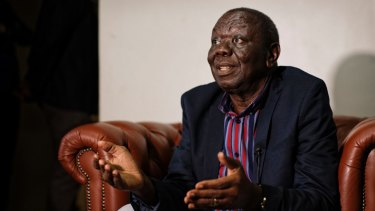 Zimbabwe opposition leader Morgan Tsvangirai speaks to the media at his home in Harare, on Thursday.