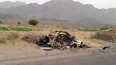 This photo taken by Abdul Salam Khan using his  phone on May 22, 2016, purports to show the destroyed vehicle in which Afghan Taliban leader Mullah Mohammad Akhtar Mansour was travelling in Pakistan's Balochistan province.