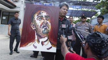 A self portrait of Myuran Sukumaran is taken from Kerobokan Prison to Wijaya Pura in Cilacap.