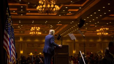 Donald Trump speaks during a campaign rally in Las Vegas, Nevada on Saturday.